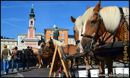 Free Salzburg Walking Tour Map - Old Town Mozartplatz Square Horses