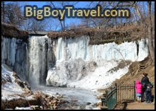Minnehaha Waterfalls Ice Cave In Winter, Minneapolis
