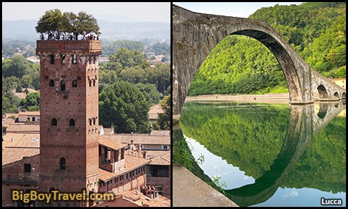 Top day trips from Florence Italy best side trips without a car - Lucca Tower and Devils Bridge