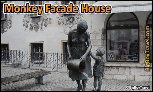 Free Old Town Berchtesgaden- Walking Tour Map - monkey facade house bucket fountain
